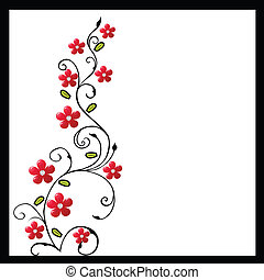 Foliage with red flowers on white background
