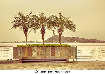 Puerto Santa Ana Boardwalk in Guayaquil Ecuador - Color...