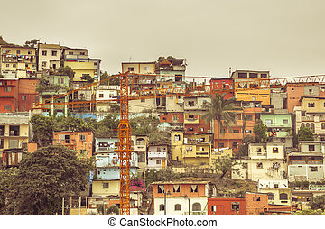 Colored Old Houses at Cerro Santa Ana in Guayaquil Ecuador -...