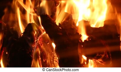 Flames of an openfire - Burning fire in a home