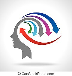 vector of business mind with arrows