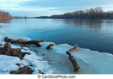 Mississippi River Thaw - mississippi river in south saint...