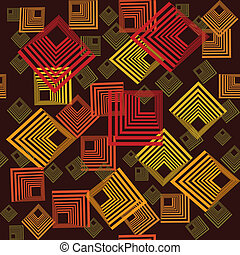 Pattern with abstract squares - Retro pattern with abstract...