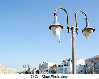 Akko old street lamp 2003 - Street lamp in the old city of...