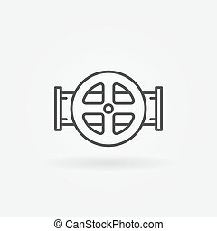 Water pipe vector icon - Water pipe icon - thin line valve...