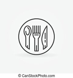 Spoon, fork and knife icon