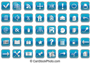 Blue buttons with icons for pc - Collection of blue buttons...
