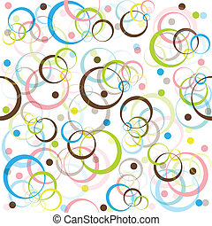 Retro pattern with colored circles and dots