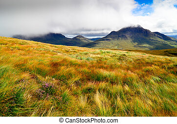 Landscape view of Scottish highlands in Inverpolly area,...
