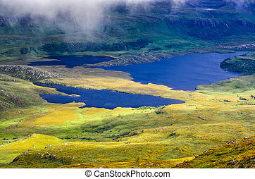 Wilderness landscape at Inverpolly in highlands of Scotland,...