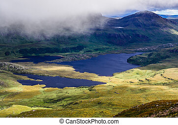Landscape view of Inverpolly mountains and lakes in...