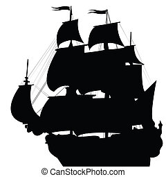 Black silhouette of old brigantine