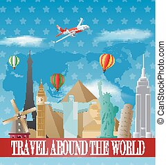 Vintage travel poster with labels a