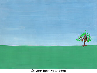 Single tree in the field.