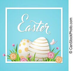 Easter card with eggs and flowers
