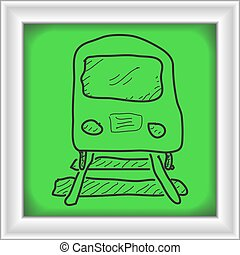 Simple doodle of a train - Simple hand drawn doodle of a...