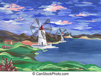 Windmills on the shore