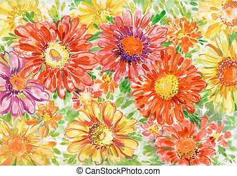 Bouquet of gerberas close up