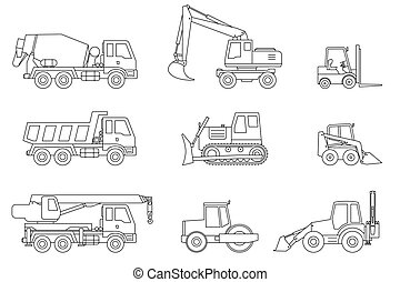 Construction machines thin icons. Vector line icons of...