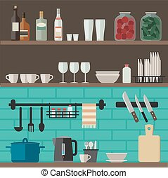 Cooking utensils on shelves. - Kitchenware flat icons....