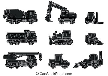 Construction machinery icons. - Vector line icons of...