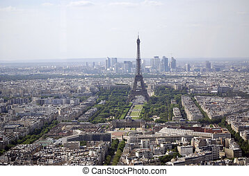 aerial view of paris, france with the eiffel tower in the...