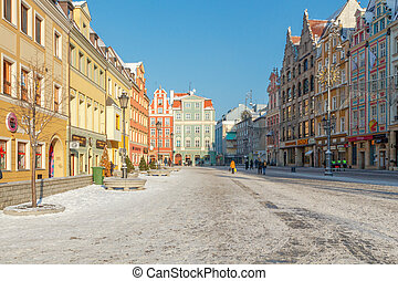 Wroclaw Market Square - Multi-colored facades of old houses...