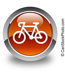 Bicycle icon glossy brown round button