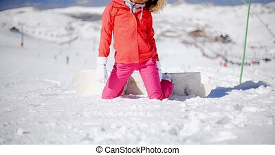Young woman in ski clothes in the snow - Young woman in ski...