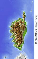 Corsica, shaded relief map - Corsica. Shaded relief map....