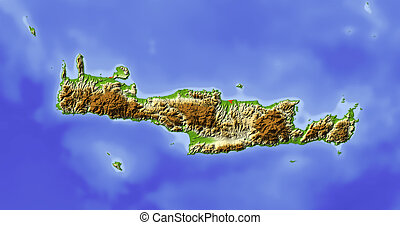Crete, shaded relief map - Crete Shaded relief map Colored...