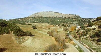 4K, Luftaufnahmen, flug, entlang, Berge, und, Olive,...