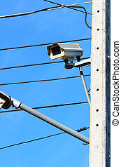 CCTV camera mounted on a pole and wiring tangle