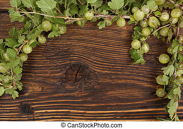 Green gooseberries - Green gooseberries with green leaves on...