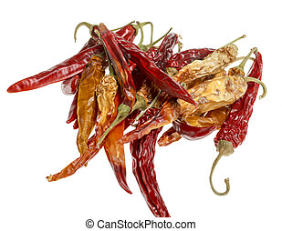 dried chili peppers - pile of red and yellow chili peppers...