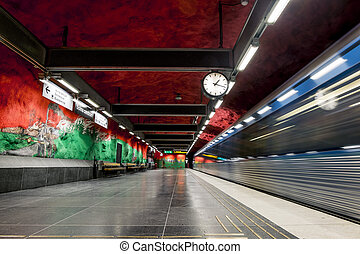 "The interior and the platform of station ""Solna Centrum"" in..."