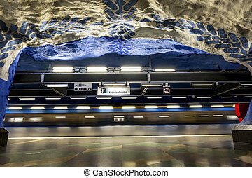 "The interior and the escalators of station ""T-Centralen"" in..."