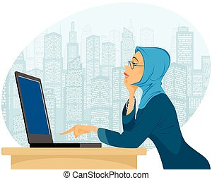 Muslim woman with laptop - Vector illustration of a muslim...