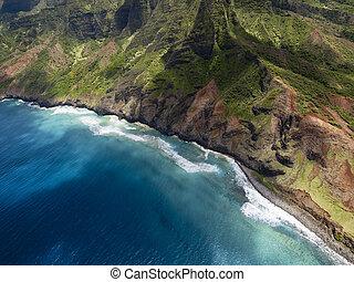 Aerial View of Na Pali Coast on Kauai island, Hawaii
