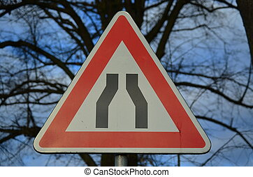 traffic sign, constricted road, South Bohemia, Czech...