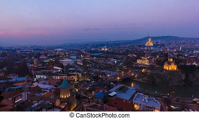 Timelapse shooting historical part Tbilisi, evening, HD,...