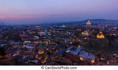 Timelapse shooting historical part Tbilisi, evening -...