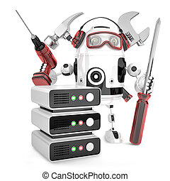 Network engineer with tools. Isolated, contains clipping path