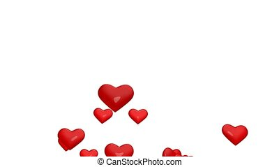 Air heart - Beautiful flying red hearts for background.