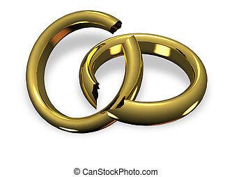Broken wedding rings - Golden rings broken in divorce