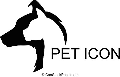 Cat and dog silhouette icon - Vector illustrations of...