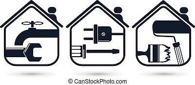 Home repairs - Symbols for home renovation, repair tools