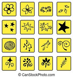 Set of doodle black outline yellow background icons, abstract ,