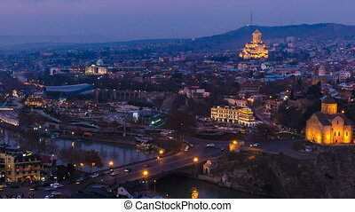 Timelapse shooting historical part Tbilisi, evening, HD, pan...