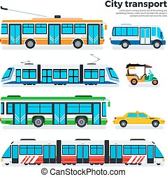Types of city transport isolated on white